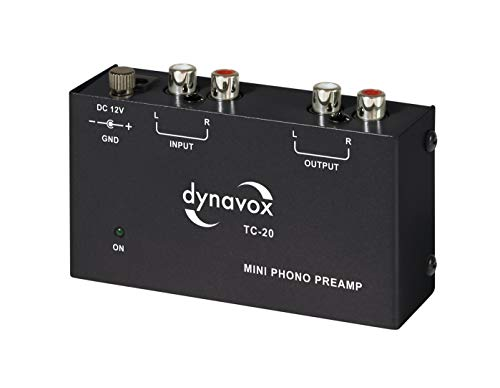 Dynavox TC-20 Phono-Vorverstärker, kompaktes Aluminium-Gehäuse, für Plattenspieler mit MM-Abtast-Systemen, schwarz