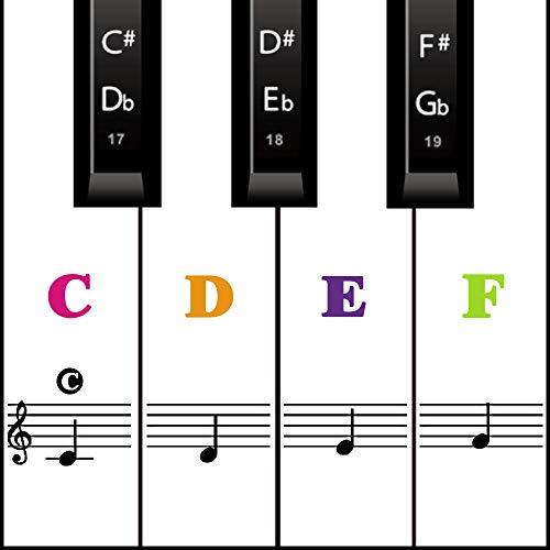 Klavier Keyboard Aufkleber für 54/61 / 76/88 Tasten Noten Piano Sticker + Ebook für weiße & schwarze Tasten Transparent und abnehmbar (Farbe)