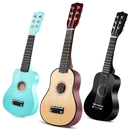 COSTWAY 21' Kindergitarre, Konzertgitarre 6 Saiten, Kinder Ukulele mit Plektrum, Kinder Gitarre, Klassikgitarre aus Holz, Akustikgitarre, Holzgitarre für Anfänger Farbwahl (natur)