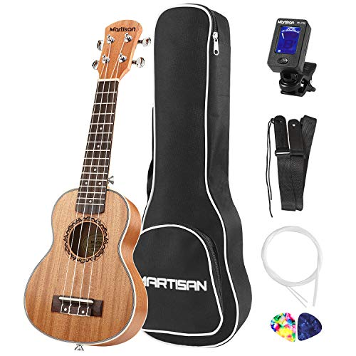 MARTISAN Sopran Ukulele 21 Zoll Professional Ukulele Hawaii Gitarre Aquila Saiten mit Anfänger Starter Pack (Stimmgerät, Tasche Gurt und Plektren)