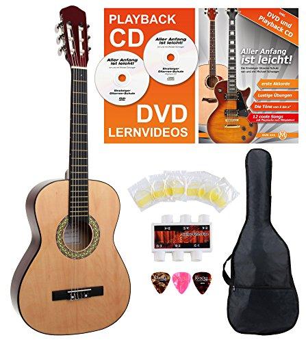 Classic Cantabile AS-851 3/4 Konzertgitarre Starter Set (Komplettes Anfänger Set mit Klassik Gitarre, Gigbag Tasche, Nylonsaiten, Lehrbuch/Schule inkl CD und DVD, 3x Plektren und Stimmpfeife)