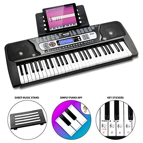 RockJam 54-Tasten-Tastatur Klavier mit Klaviernote Aufkleber Stromversorgung Notenständer und einfach Klavier Anwendung